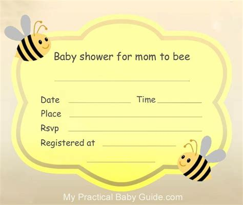 Free Printable Baby Shower Invitations Cards Cute Bumble Bee Baby Shower My Practical Baby Bumble Bee Invitation Template Free
