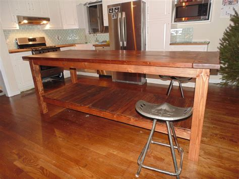 crafted reclaimed wood farmhouse kitchen island by