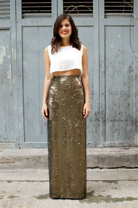 crop top sequence maxi skirt style sparkle