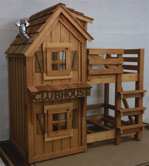 clubhouse bed rustic cabin clubhouse bunk bed with cedar roof opening