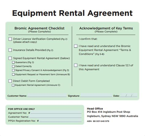 sle equipment rental agreement template 9 free
