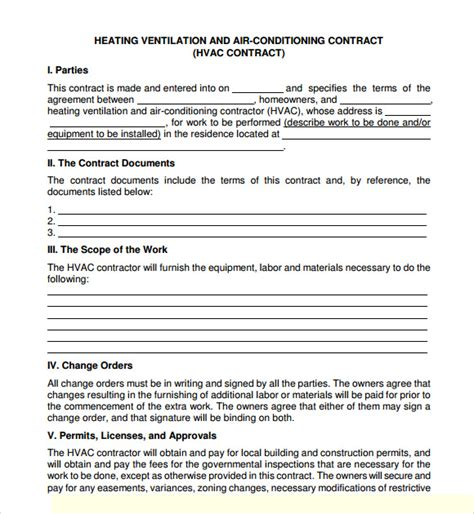 hvac maintenance agreement template service agreement template 8 free sles exles