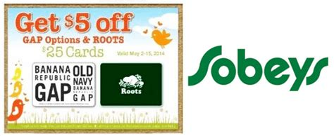 Roots Gift Card - sobeys ontario 25 old navy gap banana republic roots gift cards for 20