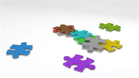 animated pieces gathering animation of puzzle pieces stock footage