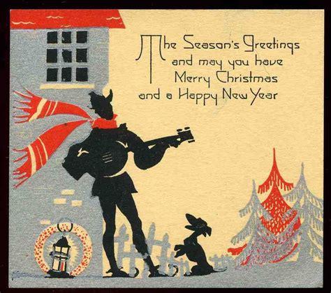 vintage  art deco christmas greeting card caroler dog night scene merry christmas