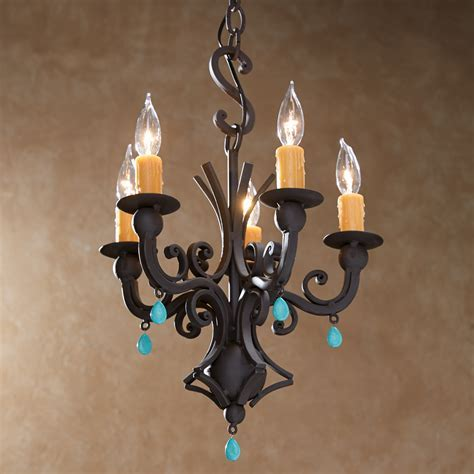 Rustic Chandeliers: Turquoise Hand Forged Iron Chandelier