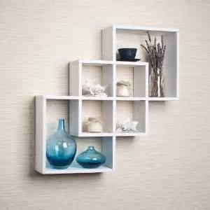 intersecting squares decorative white wall