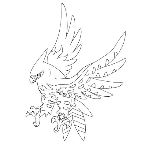 pokemon coloring pages fletchling flambusard talonflame linear by alounea on deviantart