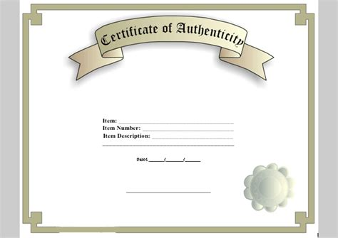 certificate of authenticity template word certificate of authenticity template of certificate of