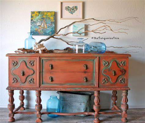 Ideas For Turquoise Table Ls Design Persimmon And Patina Green Buffet General Finishes
