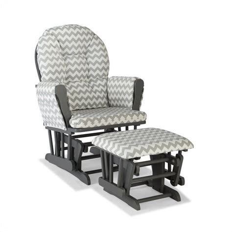 Grey And White Glider And Ottoman Gray Frame Hoop Glider With Ottoman In Chevron 06550 610g