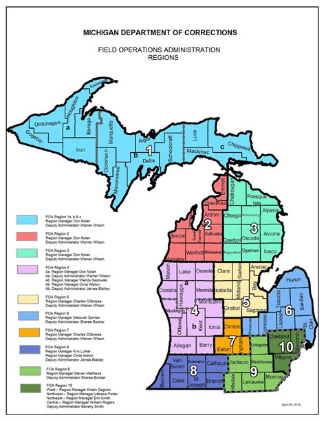 michigan department of corrections recruitment section corrections field operations administration map
