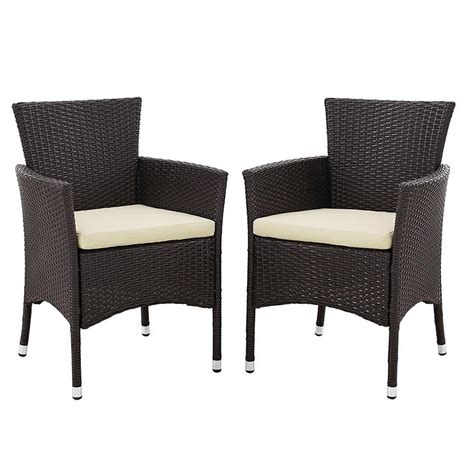 Patio Dining Chairs With Cushions Walker Edison Furniture Company Brown Rattan Outdoor Dining Chair With White Cushions Set Of 2
