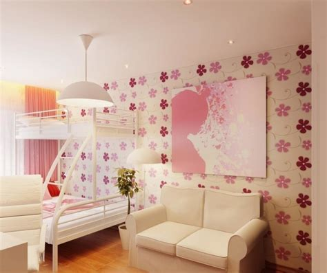 decorating girls bedroom with elegant wallpaper with