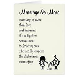 wedding wishes humor marriage is more wedding anniversary poem card zazzle