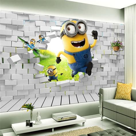 kustom foto wallpaper living room bedroom latar belakang wall decor aliexpress com buy small yellow people 3d creative