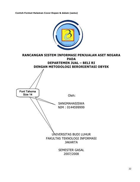 format cover skripsi ub pedoman penulisan tugas akhir si ka september 2007