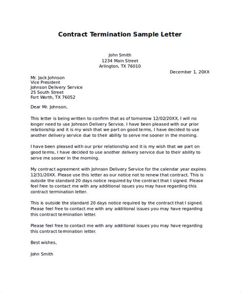 Cancellation Letter Of Agreement sle termination letter 9 exles in pdf word