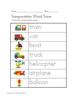 supplements k road transportation theme unit worksheets file folder