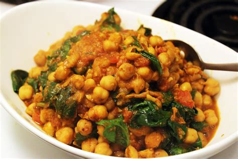 spiced indian greens and chickpeas life diy with ak spinach chick pea curry