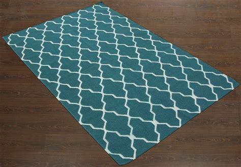 Teal Trellis Rug by Rugsville Moroccan Trellis Teal Blue Wool 13651 Rug