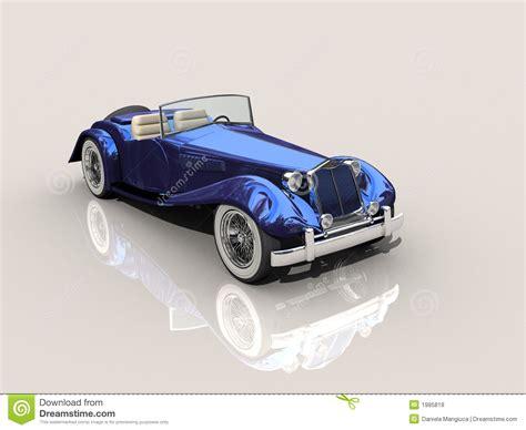 old blue vintage blue car 3d model royalty free stock photos