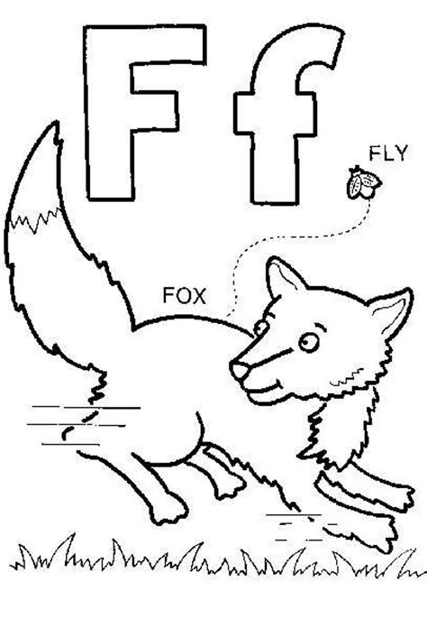 coloring pages for letter f f is for fox coloring page coloring home