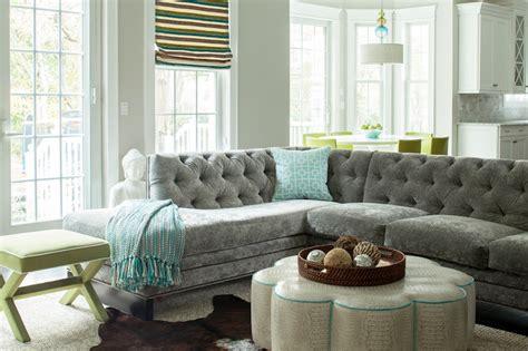 Gray Velvet Sectional   Contemporary   living room   Karen