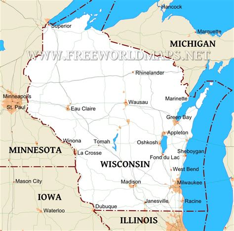 physical map of wisconsin wisconsin maps