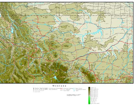 geographical map of montana montana elevation map