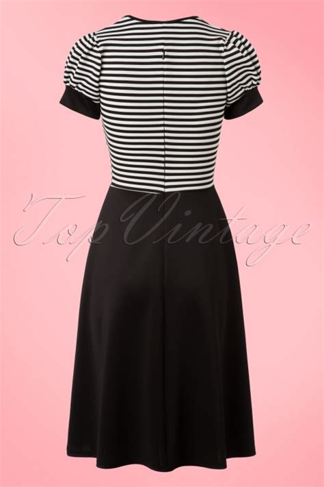 Black And White Vintage Dress 50s robin swing dress in black and white stripes