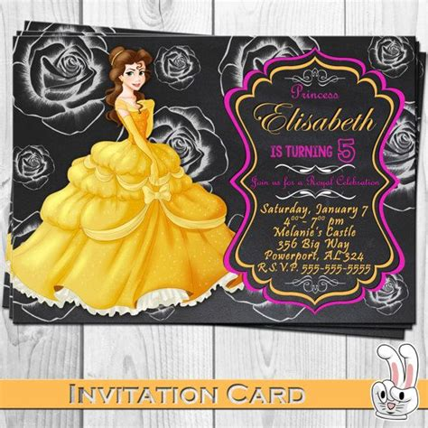 and the beast birthday card template disney and the beast invitation card chalkboard