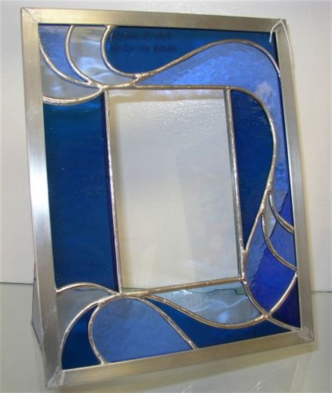 stained glass picture frame blue silver