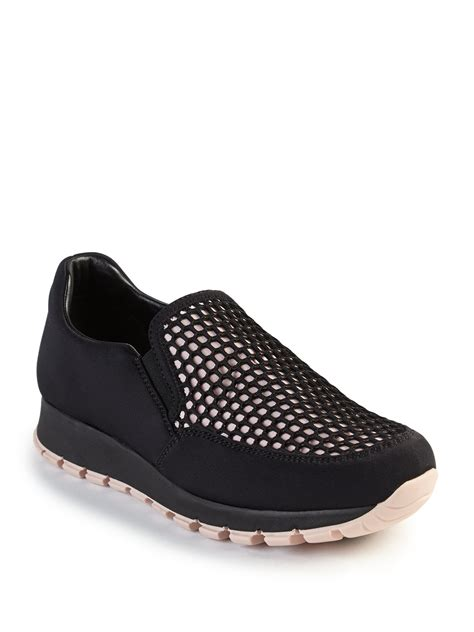 slip on sneakers lyst prada honeycomb mesh slip on sneakers in black