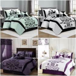Cal King Bedding Set Chezmoi Collection 7 Piece Flocked Floral Faux Silk