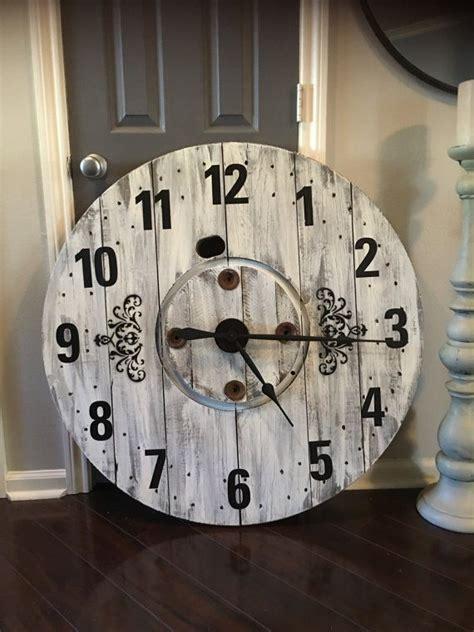 large rustic farmhouse spool clock wooden spools wooden