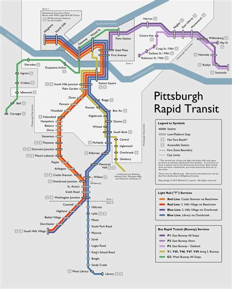 pittsburgh subway map unofficial map pittsburgh rapid transit by