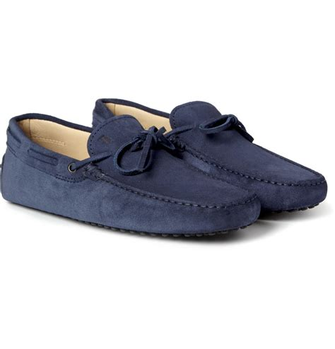 driving shoes tod s gommino suede driving shoes in blue for lyst
