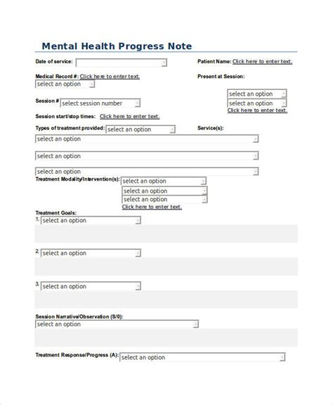 mental health progress note template 20 progress note exles sles