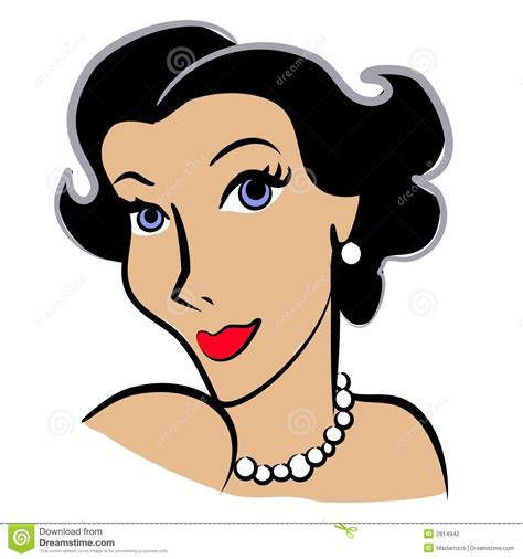 Clip art illustration of the head of a woman with dark hair blue