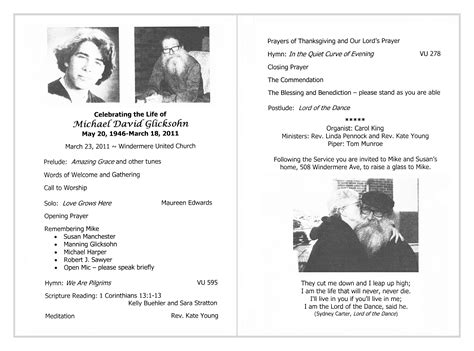 memorial bulletin template 9 best images of memorial service bulletin template