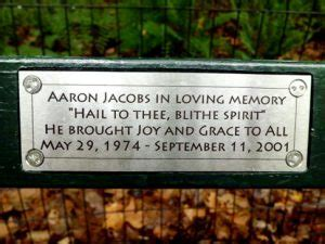 madeline kahn bench central park a september 11th tribute to aaron jacobs the dusty baker
