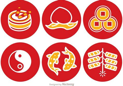 new year icon vector lunar new year icons vector free vector