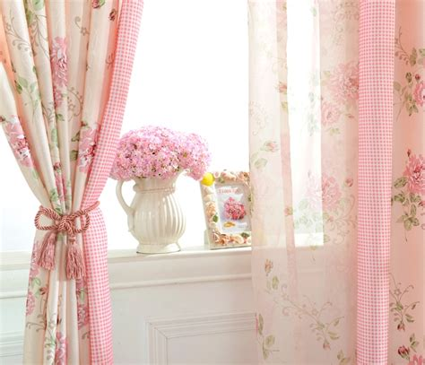 shabby chic pink curtains pink floral poly cotton shabby chic curtains