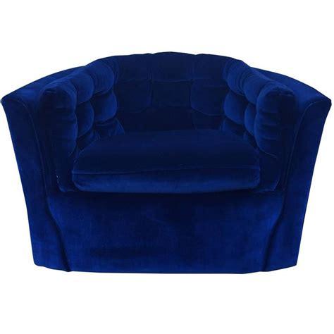 Royal Blue Velvet Mid Century Modern Swivel Chair For Sale Blue Swivel Chair