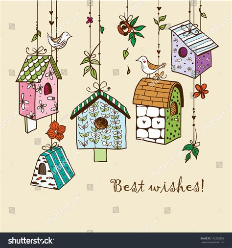 doodle box vector free doodle nesting boxes with birds stock vector illustration