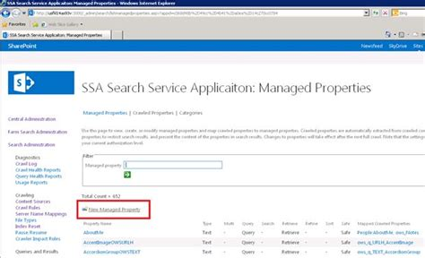 New Property Records Configuring Managed Properties In Search Service On Server