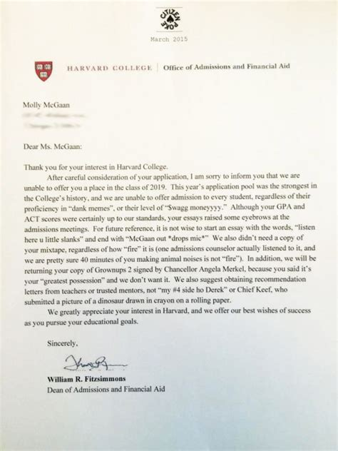 College Non Acceptance Letter Somebody Give This High Schooler An Award For Harvard Rejection Letter Huffpost