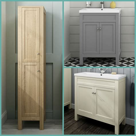 Bathroom Furniture Cabinet Traditional Bathroom Cabinets Furniture Vanity Unit Sink Basin Ivory Oak Grey Ebay