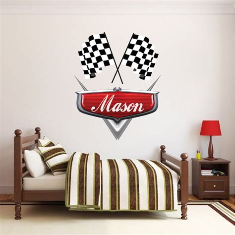 custom wall mural decals personalized boys race car name decal car wall decals